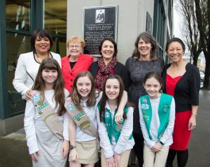 Multnomah County Board of Commissioners and former Governor Barbara Roberts pose with local girl scout troop.