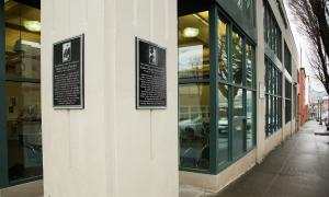 Plaques commemorating Ester Pohl Lovejoy and Abigail Scott Duniway are mounted on Election Building