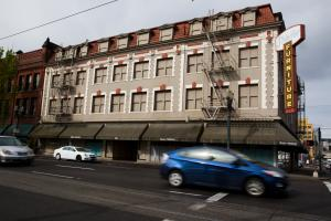 A view of the Shleifer Furniture building on Monday, April 17. The building is the new home of the Columbia shelter.