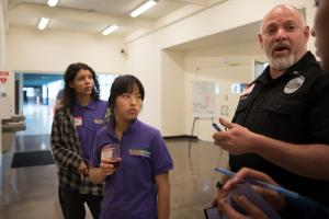 Gresham police Lt. Jeff Miller speaks to members of the Multnomah Youth Commission during an immigrant rights workshop.