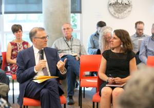 Chair Deborah Kafoury, right, with Portland Commissioner Nick Fish, left, at a summit Sept. 14, 2017, on supportive housing.