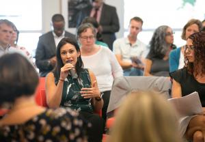 Patricia Rojas, director of El Programa Hispano Católico, speaks during a summit on supportive housing Sept. 14, 2017.