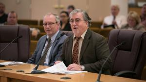 From left: Multnomah County Courthouse Project Manager JD Deschamps and County Attorney Ken Elliott