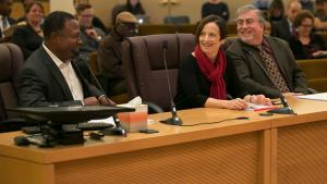 Ken Wilson, Sherry Swackhamer and Ken Elliott of Multnomah County talk about the agreement to sell the Wapato jail site.