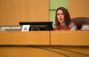 Chair Deborah Kafoury speaks during a hearing on approving an agreement to sell Wapato.