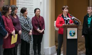 Marlena Neely speaks during the kickoff of the Home for the Holidays campaign Monday, Nov. 13, 2017.