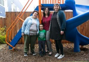 Andrea Bunch and Michael, with Gwen Buzan of WDC Properties and Hillary Houck of Human Solutions, right.