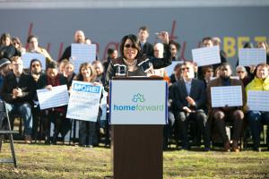 Commissioner Loretta Smith speaks during a housing rally Dec. 5, 2017, in her district.