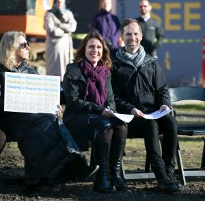 State Rep. Alissa Keny-Guyer, from left, Chair Deborah Kafoury and Home Forward executive director Michael Buonocore during a housing rally Tuesday, Dec. 5, 2017.