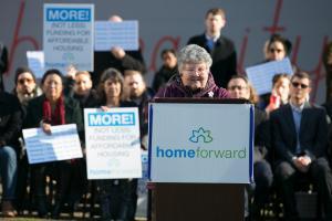 TomiRene Hettman speaks during an affordable housing rally Tuesday, Dec. 5, 2017.