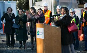 Director of Integrated Clinical Services Vanetta Abdellatif speaks during groundbreaking for new Health Department headquarters.