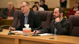 Marc Jolin, director of the Joint Office of Homeless Services, and Andy Miller, director of Human Solutions.