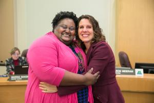 Kim Melton, Chair's Office Chief of Staff and Chair Kafoury embrace following the Feb. 7 Board meeting.