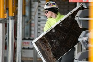 Construction worker Heather Mayther on the job at the new Courthouse