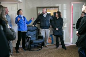 Rachel Solotaroff, CEO of Central City Concern, joins county officials on a tour of the vacant Budget Lodge motel.