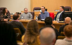 David Heslam, of Earth Advantage, answers a question while Chair Kafoury and fellow panelists look on.