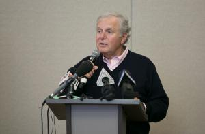 Tim Boyle, CEO of Columbia Sportswear, speaks at the Oregon Harbor of Hope shelter announcement April 10, 2018.