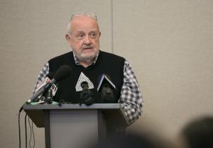 Homer Williams speaks at the Oregon Harbor of Hope shelter announcement April 10, 2018.