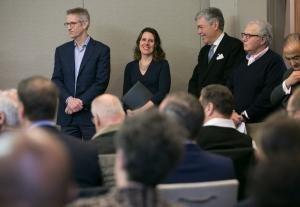 Mayor Ted Wheeler, Chair Kafoury, attorney Robert Stoll and others during the Harbor of Hope shelter announcement April 10, 2018.
