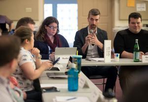 Members of the Foster Steering Committee meet in April.
