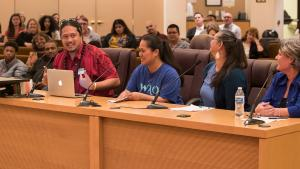 Makerusa Porotesano, left, urged the board to fund a proposed health equity study within the County's Pacific Islander community.