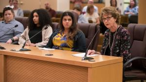 Former County Commissioner Diane McKeel urges her former colleagues not to cut funding for a sergeant's post in the Sheriff's Office human trafficking team.