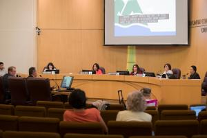 Commissioners during a Foster shelter vote June 14, 2018.
