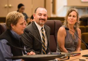 From left: Animal Services Director Jackie Rose, County Attorney David Blankfeld, and Andrea Kozil, community advocate