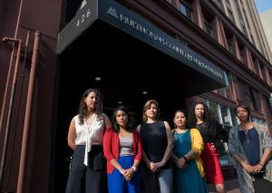 Health Department leadership, from left, Adrienne Daniels, Charlene Maxwell, Alexandra Lowell, Aileen Duldulao, Rachael Banks, Vanetta Abdellatif
