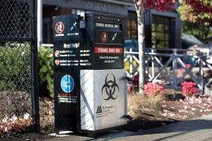 syringe drop box installed at the Lents fire station