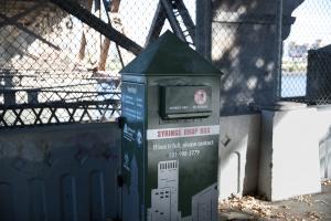 syringe drop box under the Burnside Bridge