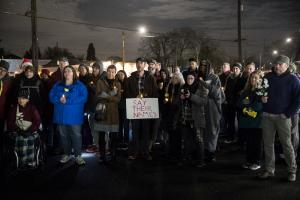 At least 80 people took part in the Vigil of Remembrance and Solidarity.