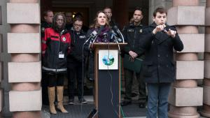 Chair Deborah Kafoury explains the County and Portland's severe weather plan for helping homeless neighbors Feb. 8.