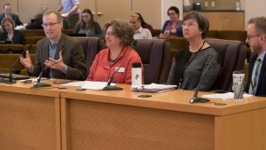 From left, Marc Jolin of the Joint Office, Laura Golino de Lovato of Northwest Pilot Project, Peggy Samolinski from Youth and Family Services, and Ian Slingerland of Home Forward.