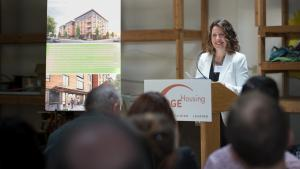 Chair Deborah Kafoury speaks at the North Williams Center groundbreaking ceremony May 30, 2019.