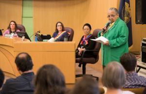 Kathleen Saadat, civil rights leader, presents the award named for her.