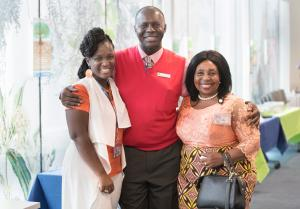 Primary Services Director Tasha Wheatt-Delancy, left, with Community Health Council member Harold Odhiambo and community health navigator Therese Lugano.