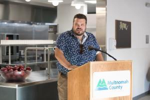 Matthew Mičetić speaks at the Laurelwood Center open house Monday, Aug. 12, 2019.