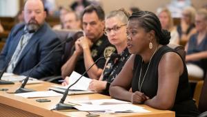Erika Preuitt, interim director for the Department of Community Justice speaks to board.