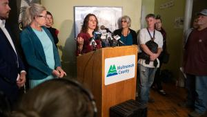 Chair Deborah Kafoury speaks at a Street Roots news conference Wednesday, Sept. 25, 2019.