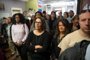 Commissioners Susheela Jayapal and Jessica Vega Pederson stand with service providers at a Street Roots news conference Wednesday, Sept. 25, 2019.