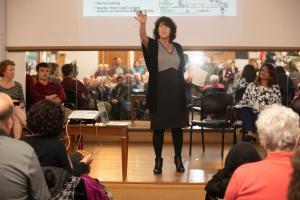 Commissioner Dr. Sharon Meieran addresses the Linnton community.