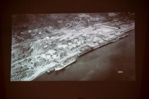 1945 aerial image of the fuel tank hub from a 2019 public presentation.