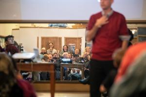 Dan Serres speaks at Linnton Community Center forum