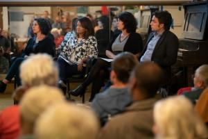From left, Cassie Cohen, Susheela Jayapal, Sharon Meieran and John Wasiutynski