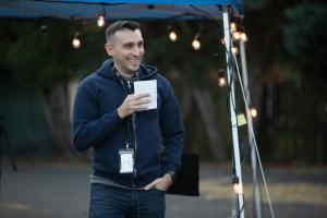Daniel Hovanas of Do Good Multnomah speaks at the 2019 Wy'east Eat & Greet on Oct. 11, 2019.