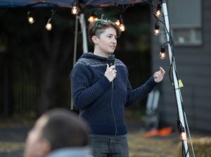 Kelly Fitzpatrick of the Mill Park Neighborhood Association speaks at the 2019 Wy'east Eat & Greet on Oct. 11, 2019.
