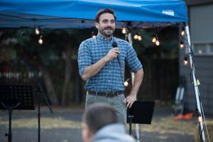 Sven Gatchev of the Community Investment Trust speaks at the 2019 Wy'east Eat & Greet on Oct. 11, 2019.