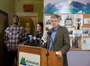 Tri-County Health Officer Dr. Paul Lewis at the release of the 2018 Domicile Unknown report.