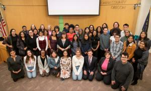 2019-2020 MYC members group picture with MYC staff and City and County officials